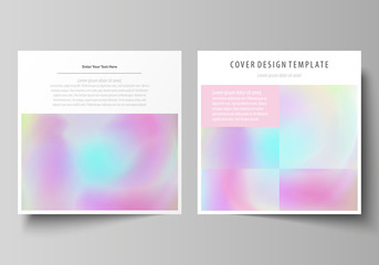 Business templates for square design brochure, flyer. Leaflet cover, abstract vector layout. Hologram, background in pastel colors with holographic effect. Blurred colorful pattern, surreal texture.