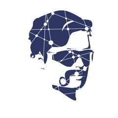 Hairstyle and mustache. Gentlmen haircuts and shaves. Portrait of a man wearing sunglasses. Silhouette textured by lines and dots pattern