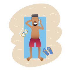 Conceptual flat banner person on weekends isolated