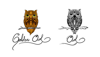 owl for tribal & realis vector