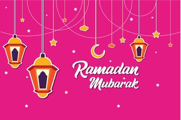 Ramadan Mubarak Greeting Card design with lantern, half moon, and star vector Illustration. Ramadan Mubarak Greeting Card Background. Lantern Flat Illustration. Happy Eid Mubarak. Flat.