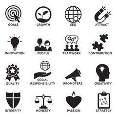 Company Core Values Icons. Black Flat Design. Vector Illustration.