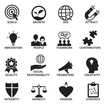Company Core Values Icons. Black Flat Design. Vector Illustration.