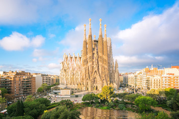 Photo sur Toile Barcelone Landscape of Barcelona city from the roof top of hotal