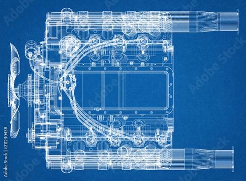 Car Engine Design Architect Blueprint
