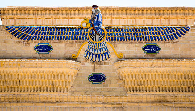 Faravahar, main symbol of persian zoroastrianism on the top of a temple.