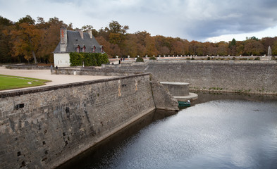 Stone banks of Loire river in Chenonceau
