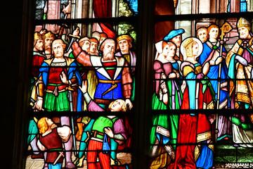 Les Andelys, France - march 21 2018 : collegiate church Notre Dame