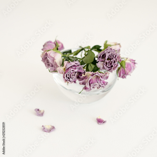 Flowers Pink Dry Roses In A Round Transparent Vase Stockfotos Und