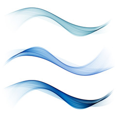 Abstract blue color wave design element. Set Blue wave