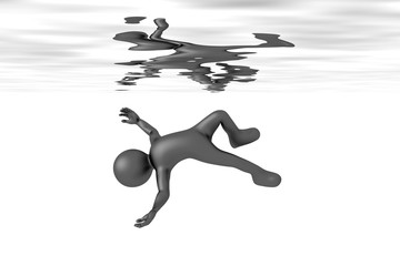 floating man in the water
