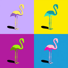 four different colored flamingos
