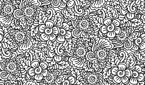 Black and white lineart doodle flowers vector seamless pattern tile, coloring book