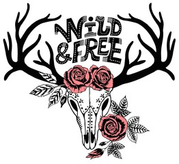 boho chic. Hand drawn reindeer skull with antlers and roses. Hipster tattoo design. Vector ink illustration isolated on white. Boho, grunge, rustic style. Prints, posters, t-shirts and textiles