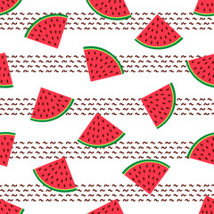 Seamless pattern with colorful watermelons slices .