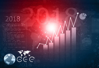 Financial growth graph. 3d illustration