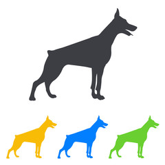 Icono plano silueta perro Doberman en varios colores