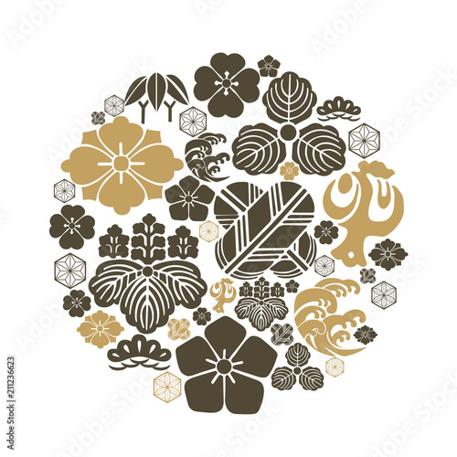 japanese crest icons vector black and gold template flower leaves