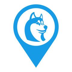Icono plano localizacion cabeza de husky azul