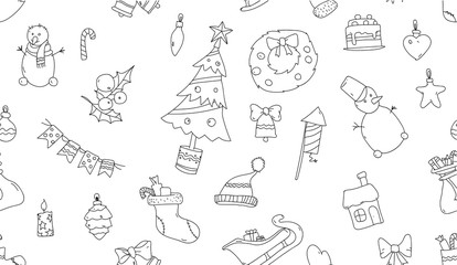 White seamless pattern with Christmas symbols.
