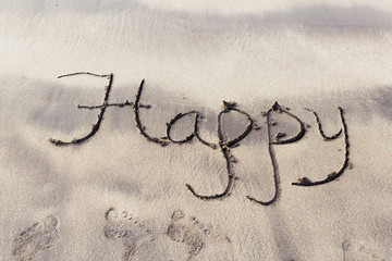 Word Happy written on the sand