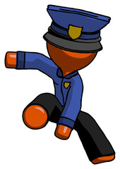 Orange Police Man action hero jump pose