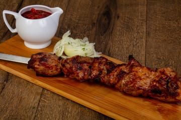 Grilled pork shashlik bbq