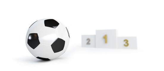 soccer ball pedestal on a white background 3D illustration, 3D rendering