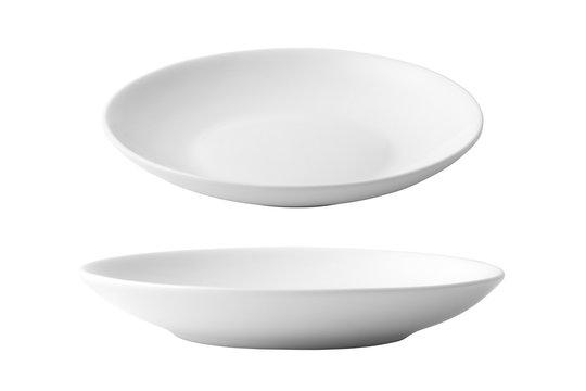 White ceramic dish isolated on white background.