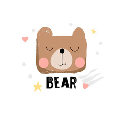 Cute bear face illustration