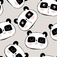 Seamless pattern with cute panda face