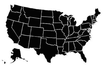 Mapa negro de Estados Unidos de América.
