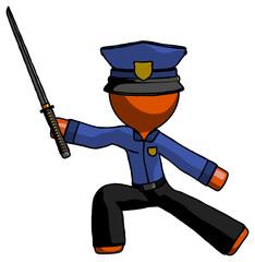Orange Police Man with ninja sword katana in defense pose