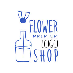 Florist shop premium logo design hand drawn vector Illustration in blue color on a white background