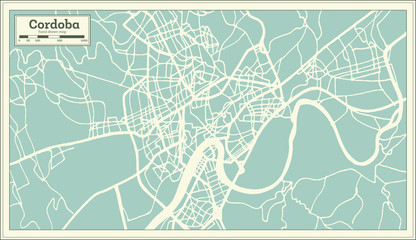 Cordoba Spain City Map in Retro Style. Outline Map.