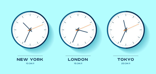 World time. Simple Clock icons in flat style. New York, London, Tokyo. Watch on blue background. Business illustration for you presentation. Vector design objects.