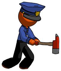 Orange Police Man with ax hitting, striking, or chopping