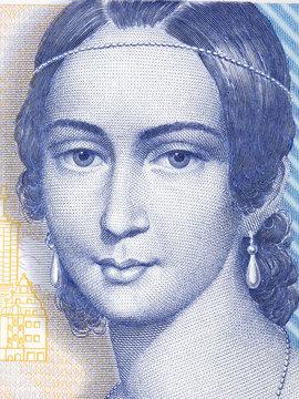 Clara Schumann portrait from Deutsche Mark
