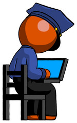 Orange Police Man using laptop computer while sitting in chair view from back