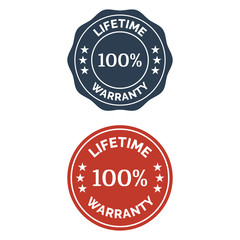 Lifetime warranty flat badge in two versions.