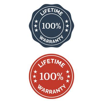 Lifetime warranty flat badge in two versions.