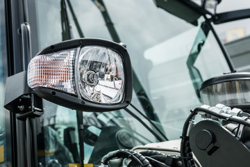 headlights and Parking lights of a truck, excavator, tractor or bulldozer or other construction equipment