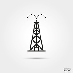 Oil drilling rig vector line icon. Fossil fuel and energy industry symbol.