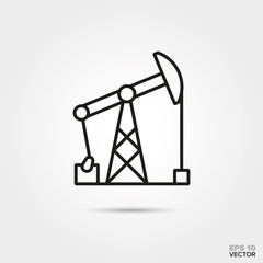 Pumpjack vector line icon. Fossil fuel and energy industry symbol.