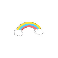 Rainbow with clouds. Flat design. Vector illustration