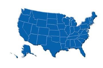 Mapa azul de los Estados Unidos de América.