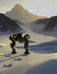 Battle Robot Tracking a Fugitive through Snowy Mountains - science fiction illustration