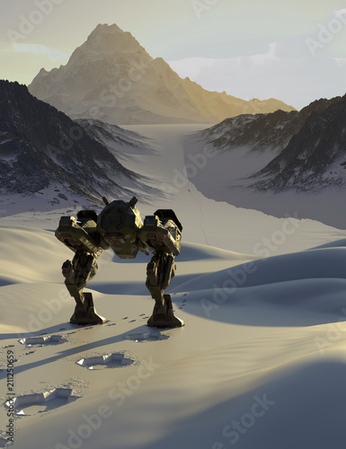 """Battle Robot Tracking a Fugitive through Snowy Mountains - science fiction illustration"" Stock photo and royalty-free images on Fotolia.com - Pic 211250659"