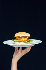 Female hand holding white plate with burger.