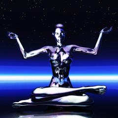 Digital 3D Illustration of a meditating Female